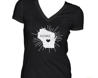 Home Wisconsin Starburst V Neck Shirt