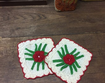 Vintage Hot Pad Trivets Handmade Roses