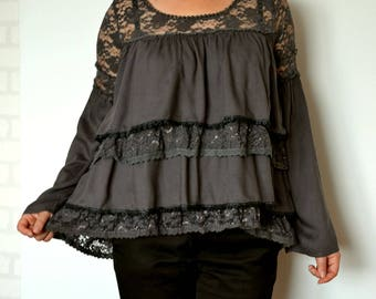 Women's romantic tunic, lace ruffles tunic, loose tunic, graphite tunic with sleeves, recycled clothing, boho tunic, gypsy tunic size M