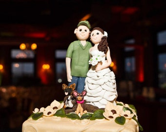 Bride and Groom Hunting Wedding Cake topper