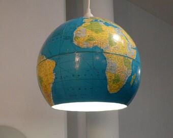 Upcycled Globe Pendant Light, Kids room decor