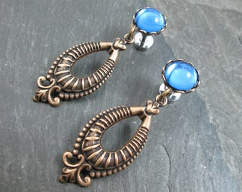 Dangle Plugs - 10g - 8g - 6g - 4g - 2g - 0g - Tribal Gauges - Antiqued Brass - Gothic Plugs - Gothic Jewelry - Filigree Plug Earrings