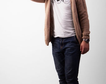 Lose Fit Men's Beige Simple Cardigan - 50-50 wool-acrylic.