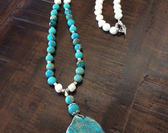 Turquoise with mother of pearl