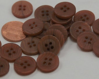 """Lot of 24 Matte Swirled Brown Plastic Buttons 5/8"""" 15.5mm  # 6602"""