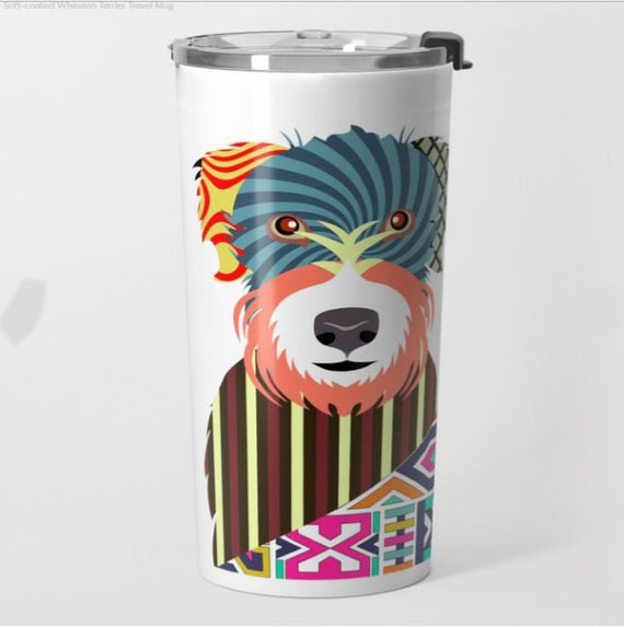 Wheaten Terrier Metal Travel Mug, Soft Coated Wheaten Terrier Gifts, Wheaten Terrier Print Accessories, Stainless Steel Mug, Metal Mug