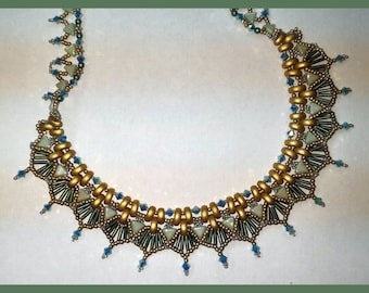 Half Moon, Kheops and  Bugle Necklace Tutorial