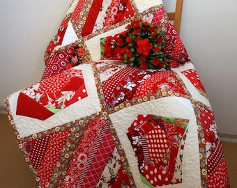 Red Patchwork Quilt, Lap Quilt, Single Bed Quilt, Summer Flowers Quilt, Handmade Quilt, Two Sided Patchwork Blanket, Colourful Floral Quilt