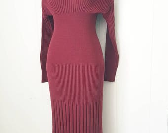 90s Carole Little Burgundy Textured Knit Sweater Dress