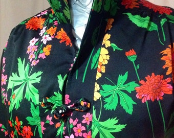 Tunic midi dress adjusted per Edith Flagg/vintage 1960 / floral intense /couleurs / size M