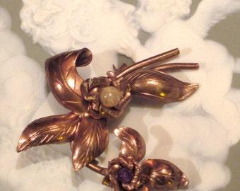 Vintage 1940's Copper Brooch Pin
