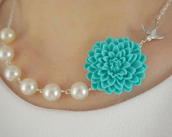 19Bridesmaid Gift Turquoise Necklace Flower Necklace Bridesmaid Jewelry Wedding Necklace Pearl Necklace Ivory Necklace Bridal Party Gifts