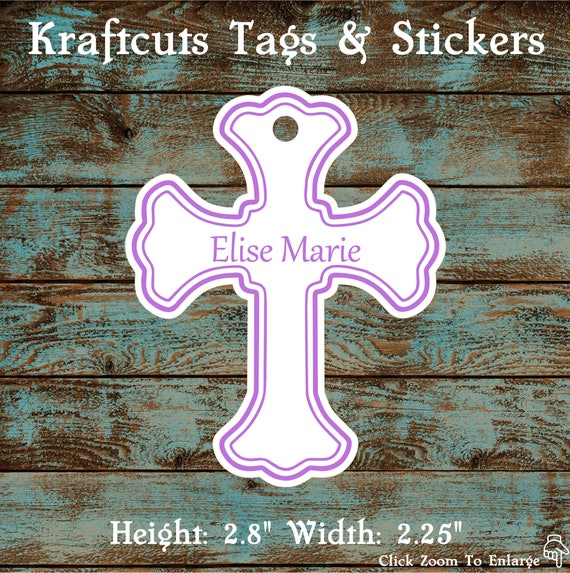 Favor or Gift Tags - Baptism Cross Tag Lavender Large #200L - Quantity: 20 Tags