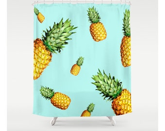 Pineapple Print/ Summer Print   Custom Made   Shower Curtains   Unique  Shower Curtains