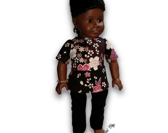 """Asian Inspired Top & Leggings Outfit 18"""" Doll Clothes [41919G]"""