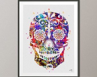Sugar Skull Watercolor Print Horror Decor Halloween Wall Decor Gothic Black and White Day of the Dead Decor Scary Party Goth Skull Print-266