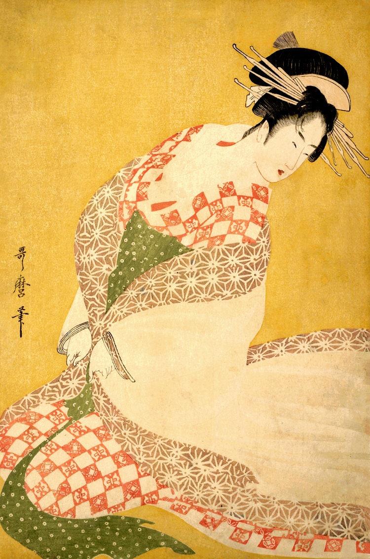 Japanese geisha dressing Beautiful woman in kimono Kitagawa