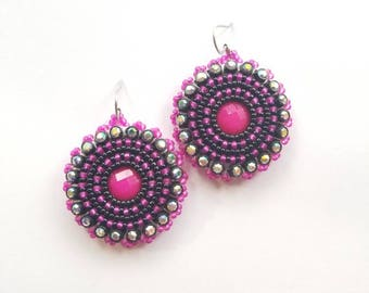 Hot Pink Beaded Earrings