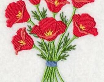 Pretty Poppy Bouquet Embroidered Flour Sack Towel/ Hand Towel / Bath Towel  / Apron
