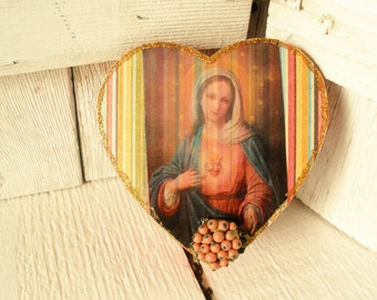 Prayer box small heart shaped Christian pocket shrine Mary meditation embellished upcycled / free shipping US