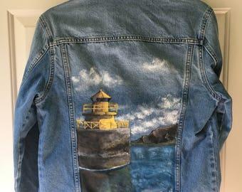 Iceland Landscape - Hand-painted Denim Jacket