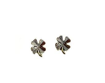 Shamrock Stud Earrings Four Leaf Clover post earrings Handmade Gift