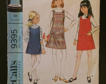 1968 McCall's Pattern # 9395, Girl's Size 12, Jumper and Blouse, Uncut