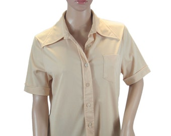 "1970s Polyester Shirt, Tan ""Woolco"" Woolworth's 1970s Polyester - Long Point Collar"