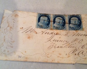 Specialty Stamps; Three Ben Franklin's on an envelope