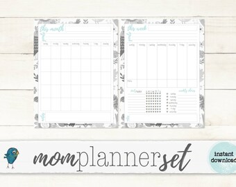 PRINTABLE Weekly & Monthly Planner: Perfect for busy Moms!! - INSTANT DOWNLOAD