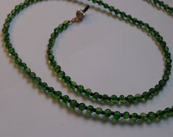 "womans green eyeglass chain holder with silver holders 27 1/2"" eyeglass chain holder round green glass beads and black glass seed beads"