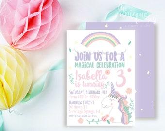 Unicorn Invitation -  Unicorn Invite - Unicorn Party - Unicorn Birthday Party  // UNI - 01