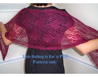 knit wrap pattern - pretty in hearts, valentine hearts knit, wedding pattern, bridesmaid shawl instruction, bride wrap diy, lace knit pdf