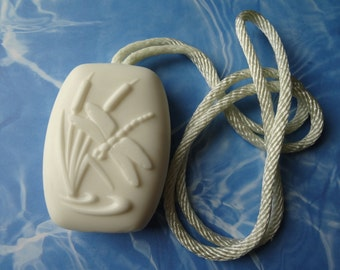 Unscented Cocoa Butter Soap on a Rope Natural Vegan Bar Handmade Hang it!-Biodegradable Shrink Wrap