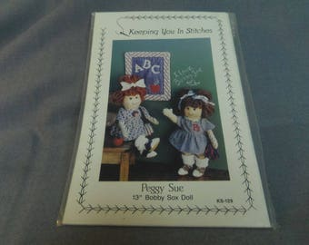 "Doll Pattern, Doll Clothes and Mini Quilt, 13"" Bobby Sox Doll, Peggy Sue, Keeping You In Stitches, 1990"