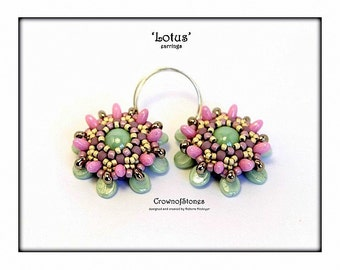 Bead pattern Lotus earrings with Pip beads and Rizo beads