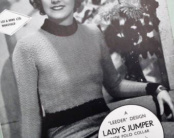 "Vintage 30s Crochet Pattern Women's Short Sweater Lady's Jumper with Polo Collar A ""Leeder"" Design George Lee & Sons Ltd original pattern"