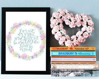 Floral Jane Eyre Quote Print, Charlotte Bronte Quote Print, Jane Eyre Wall Art Print, Literary Gifts, Literary Nursery, Literature Wall Art