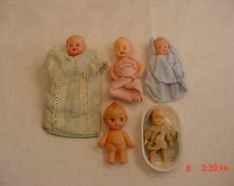 5 Vintage Plastic Baby Dolls - One Is A Kewpie  18 - 846