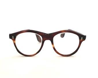 1940s Small Round Eyeglasses Antique Round Spectacles Faux Tortoise BIg Eye glasses Larger USA CirculAr Sunglasses Panto Keyhole bridge