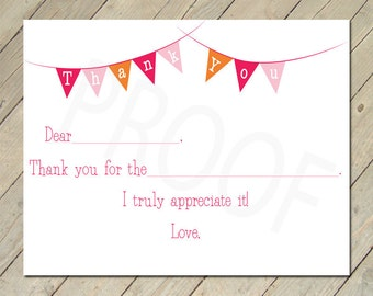 Printable Thank You Cards - PINK - Fill in the Blank
