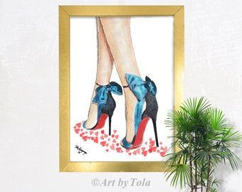 Louboutin Blue Bow High Heels Shoes Fine Art Giclee Print from Original Watercolor Fashion Illustration Artwork
