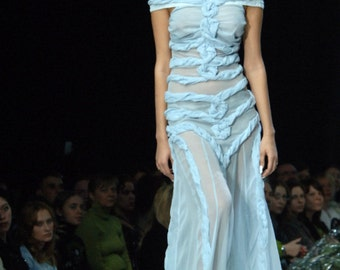 Couture Thin Blue Chiffon Gown