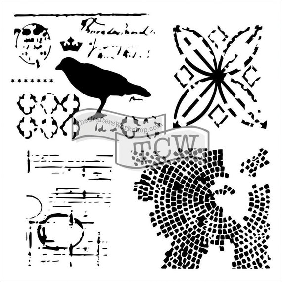"Raven Mosaics 12 x12"" Stencil /  template design perfect for mixed media, scrapbooking, journaling and so much more"