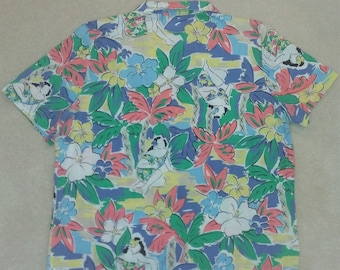 Vintage Hawaiian Hula Girl Palm Tree Hibiscus Shirt
