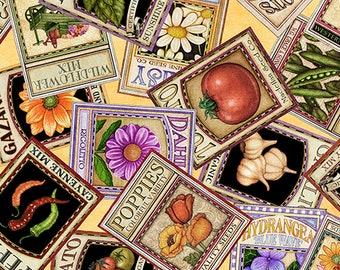 Quilting Treasures A Gardening We Grow Cream Off White Seed Packet Fabric BTY 26497-S