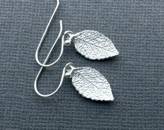 Rustic Silver Leaf Earrings, Delicate Silver Earring, Leaf Jewelry, Everyday Silver, Dangle Earrings, 925 Silver Leaf Earrings Boho Nature