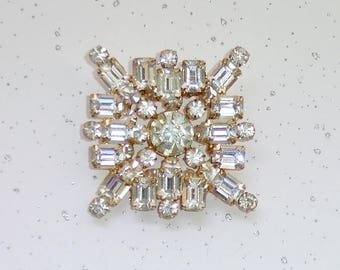 Vintage LEDO Art Deco Square Brooch, Crystal Rhinestones, 2 Layer Design 1950's