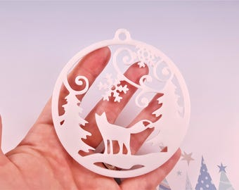 Winter and Christmas decoration for tree and snowflakes, pine trees and Fox-winter and Christmas resin ornament