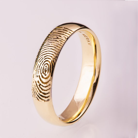 Fingerprint Wedding Band Gold Fingerprint Ring Fingerprint